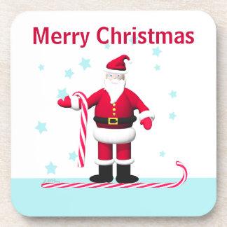 Navidad del bastón y de las estrellas de caramelo posavaso
