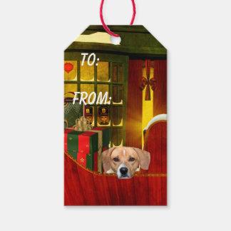Navidad del beagle etiquetas para regalos