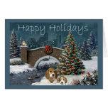 Navidad del beagle que iguala la tarjeta de felici
