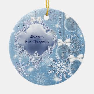 Navidad del bebé azul del hielo del país de las adorno navideño redondo de cerámica