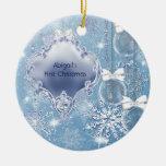 Navidad del bebé azul del hielo del país de las ma ornamentos de reyes magos