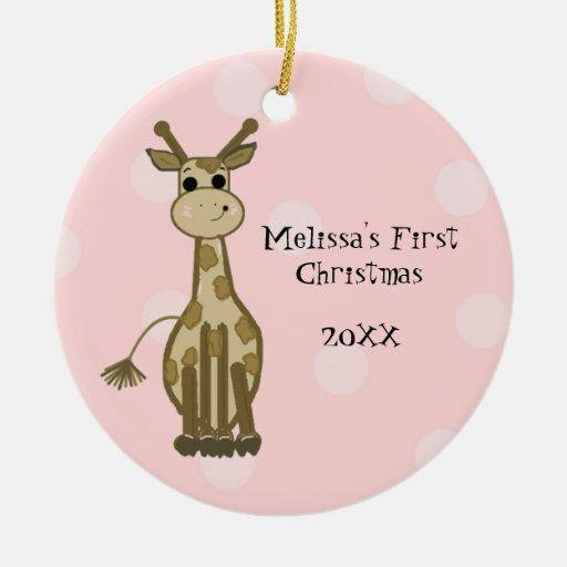 Navidad del bebé de la jirafa primer ornamentos de navidad