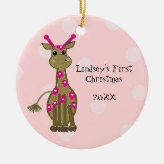 Navidad del bebé de la jirafa primer ornamentos para reyes magos