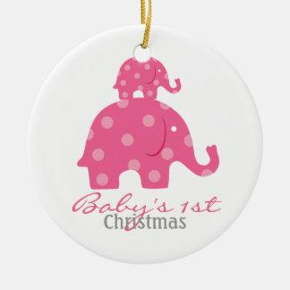 Navidad del bebé de la niña el primer - elefantes ornamento para arbol de navidad