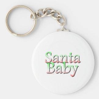 Navidad del bebé de Santa Llavero Redondo Tipo Pin