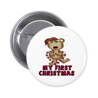 Navidad del bebé del bastón del oso y de caramelo  pin redondo 5 cm