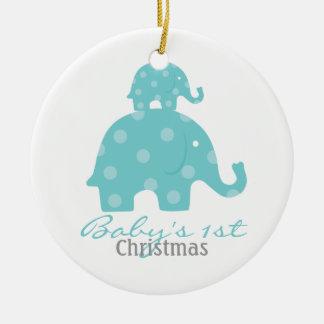 Navidad del bebé del bebé el primer - elefantes adorno redondo de cerámica
