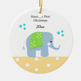Navidad del bebé del elefante indio el primer adorno de navidad