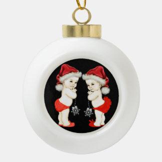 Navidad del bebé del gemelo del bebé de Santa Adorno De Cerámica En Forma De Bola