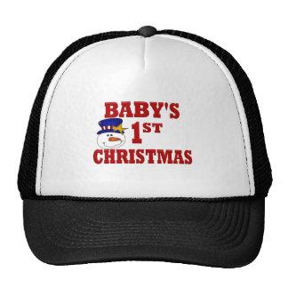 Navidad del bebé del muñeco de nieve el 1r gorros bordados