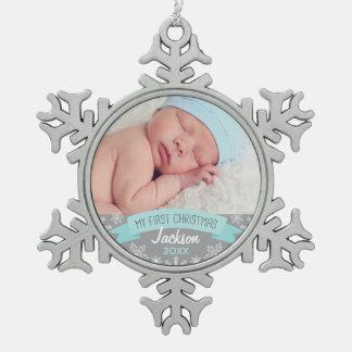 Navidad del bebé del ornamento el | de la foto adorno de peltre en forma de copo de nieve