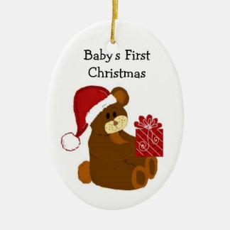 Navidad del bebé del oso de peluche el primer ornamentos de reyes