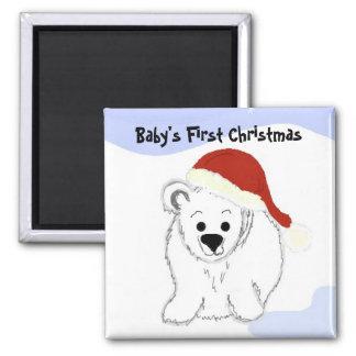Navidad del bebé del oso polar el primer imán cuadrado