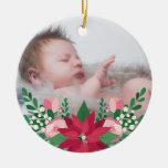 Navidad del bebé del Poinsettia y de la pizarra el Adorno Navideño Redondo De Cerámica