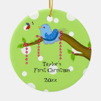 Navidad del bebé del punto de Polkda el primer Adorno Navideño Redondo De Cerámica