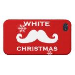 Navidad del bigote iPhone 4 protectores