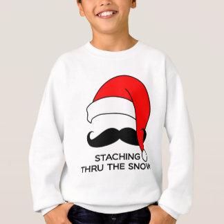Navidad del bigote - Staching a través de la nieve Sudadera