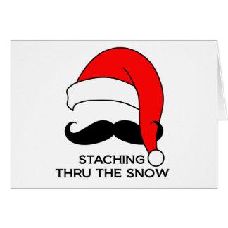 Navidad del bigote - Staching a través de la nieve Tarjeta De Felicitación