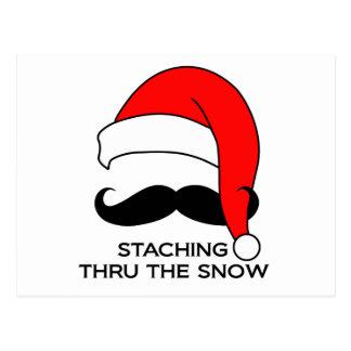 Navidad del bigote - Staching a través de la nieve Postal