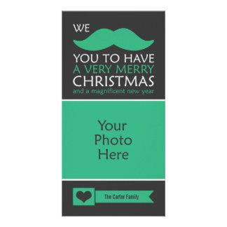 Navidad del bigote tarjeta fotográfica personalizada