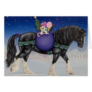 Navidad del caballo de proyecto del condado tarjeta de felicitación