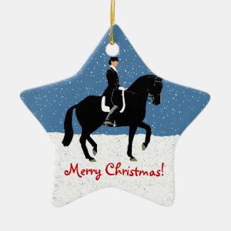Navidad del caballo del Dressage Nevado Adorno Navideño De Cerámica En Forma De Estrella