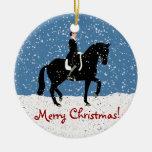 Navidad del caballo del Dressage Nevado Ornamentos Para Reyes Magos