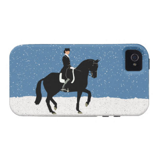 Navidad del caballo del Dressage Nevado iPhone 4 Fundas