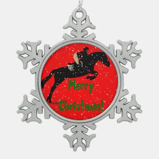 Navidad del caballo del puente del cazador adorno de peltre en forma de copo de nieve