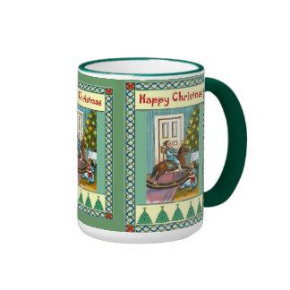 Navidad del caballo mecedora taza a dos colores