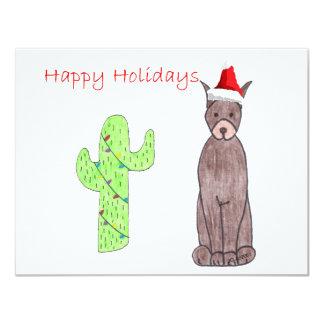 """Navidad del cactus de Brown del Pinscher del Invitación 4.25"""" X 5.5"""""""