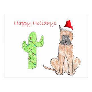 Navidad del cactus de great dane postales