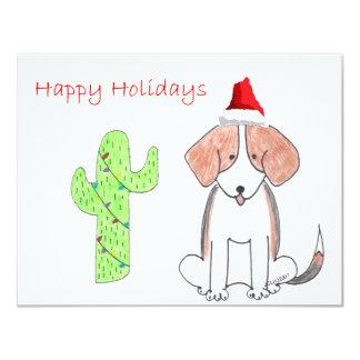 """Navidad del cactus del beagle invitación 4.25"""" x 5.5"""""""