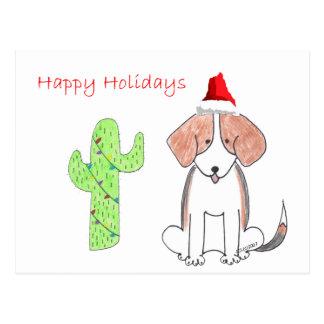 Navidad del cactus del beagle tarjeta postal