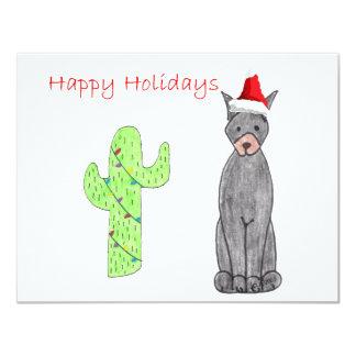 """Navidad del cactus del negro del Pinscher del Invitación 4.25"""" X 5.5"""""""