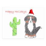 Navidad del cactus del perro de montaña de Bernese Postales