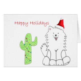 Navidad del cactus del samoyedo tarjeton