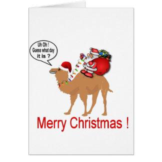 Navidad del camello del día de chepa con Santa Tarjeta De Felicitación