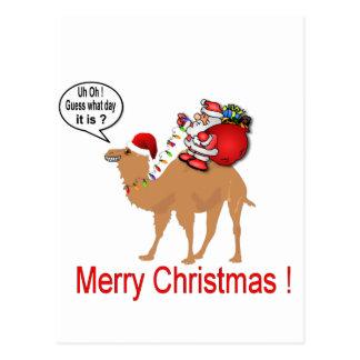 Navidad del camello del día de chepa con Santa Tarjeta Postal