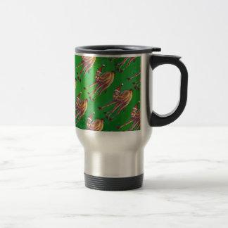 Navidad del camello en verde taza de viaje