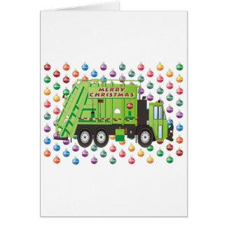 Navidad del camión de basura tarjeta de felicitación