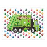 Navidad del camión de basura tarjetas postales