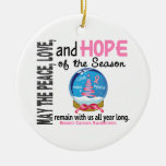 Navidad del cáncer de pecho 3 ornamentos del globo ornato