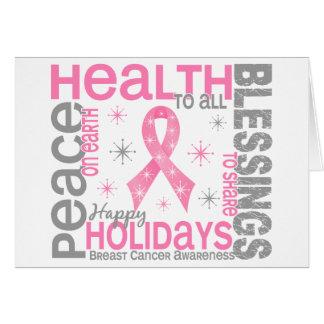 Navidad del cáncer de pecho 4 copos de nieve del d tarjeta