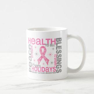 Navidad del cáncer de pecho 4 copos de nieve del d taza básica blanca