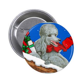 Navidad del caniche o Pin de plata del botón del d