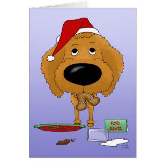 Navidad del caniche tarjeton