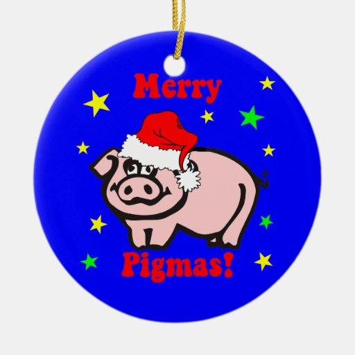 navidad del cerdo adorno redondo de cerámica