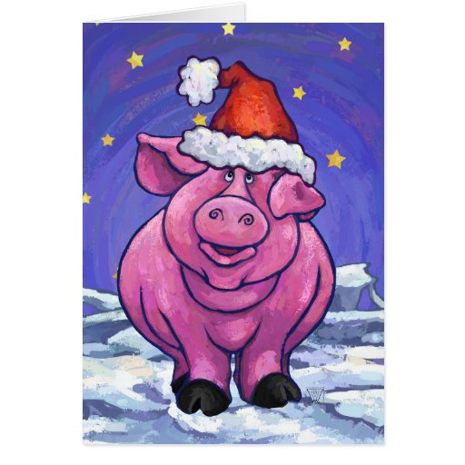 Navidad del cerdo tarjeta pequeña