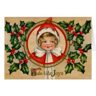 Navidad del chica del duende del vintage que salud felicitacion